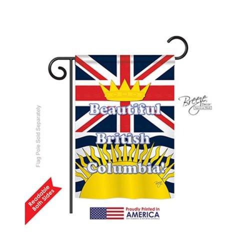Breeze Decor 58164 Canada Provinces British Columbia 2-Sided Impression Garden Flag - 13 x 18.5 in.