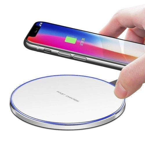 Alcatel 3L (2020) Round White Universal Qi Wireless Charger Desktop Pad + Qi Receiver Micro USB