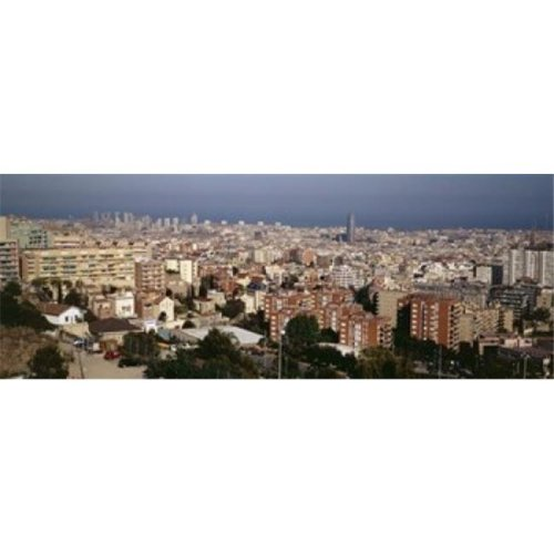 High angle view of a city  Barcelona  Catalonia  Spain Poster Print by  - 36 x 12