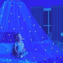 Glow in The Dark Kids Bed Canopy Fairy Light Stars Mosquito Net
