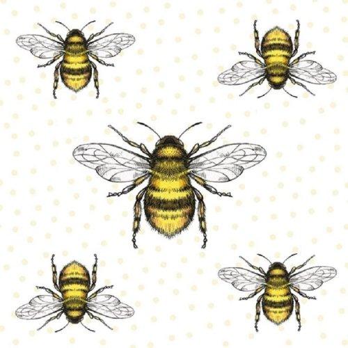 Ambiente Pack of 20 Paper Napkins / Serviettes - Bees - 33 x 33 cm 3 Ply