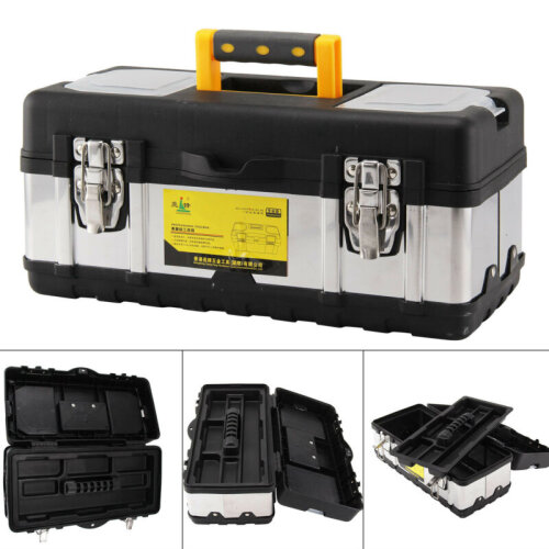 Heavy Duty 17 Inch Stainless Steel Tool Box Chest Storage Case Tray