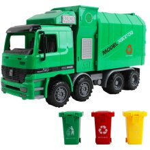 deAO Friction Powered Engineering Construction Garbage Truck Vehicle with Three Bins, Inertial Automatic Sensor, Light and Sounds Functions Included
