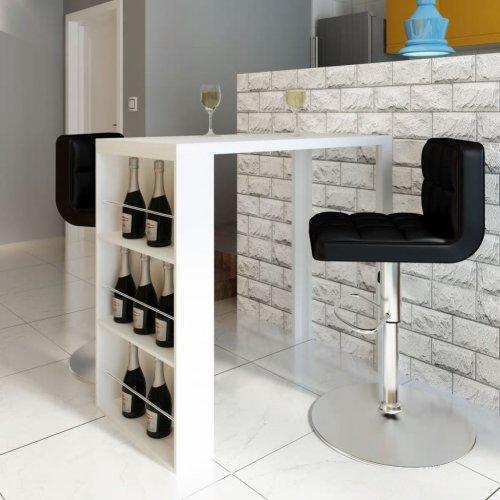 vidaXL Bar Table MDF with Wine Rack High Gloss White Breakfast Furniture Desk