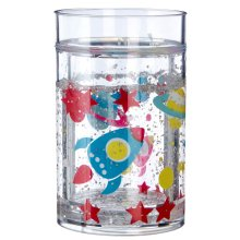 Mimo Cosmic Rocket Space Design 200ml Kids Clear Plastic Drinking Cup Tumbler