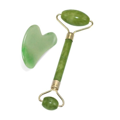 Natural Jade Green Roller & Scraper | Face & Jawline Massage Tools