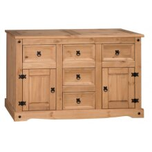Corona Sideboard Large 2 Door 5 Drawer Solid Mexican Pine Furniture