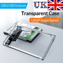 "2.5"" USB 3.0 SATA Box HDD Hard Disk Drive External Transparent Case"