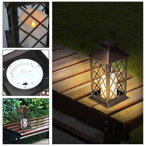 Outdoor Warm White LED Candle Hanging Lantern Light