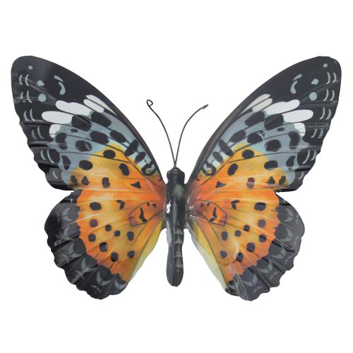 (Orange and Black) Primus Large Metal Butterfly Garden Wall Art Gift