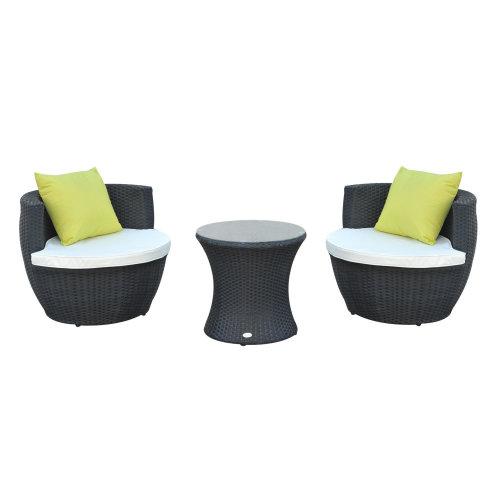 Patio Outdoor Garden Rattan Furniture Vase Stackable Chair Set 3 PCs Black