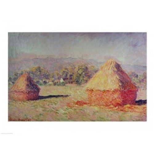 Two Haystacks 1891 Poster Print by Claude Monet - 24 x 18 in.