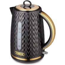 Tower Empire T10052BLK 3KW 1.7L Kettle Black with Brass Accents