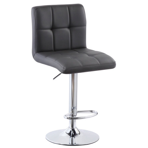 (PU Leather Grey) Charles Jacobs Cube Style Adjustable Breakfast Bar Stool with Footrest