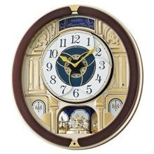 Seiko Melody in Motion Wall Clock with Rotating Pendulum - Brown (QXM356B)