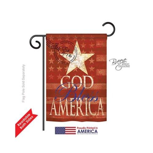 Breeze Decor 61053 Patriotic God Bless America 2-Sided Impression Garden Flag - 13 x 18.5 in.
