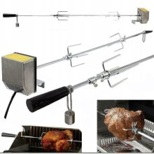 Electric Motor BBQ Grill Rotisserie Spit Roaster Rod Barbecue Roast Grilling Kit