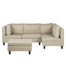 4 Seater Modular Fabric Corner Sofa with Ottoman Beige FEVIK