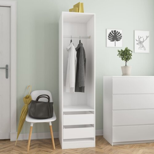vidaXL Wardrobe with Drawers Chipboard 50cm White Clothing Cabinets Storage