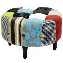 PLUSH PATCHWORK - Round Pouffe Padded Footstool with Wood Legs - Blue / Green / Red
