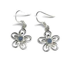 Blue chalcedony flower drop earrings, solid Sterling silver