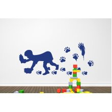Bear Hands Wall Stickers Art Decals - Large (Height 57cm x Width 130cm) Dark Blue