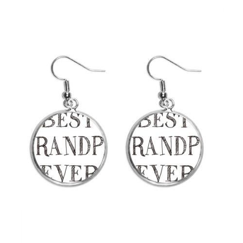 Best grandpa ever Quote Heart Ear Dangle Silver Drop Earring Jewelry Woman