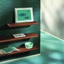 Walnut Floating Shelves with Walnut Shelf Bracket