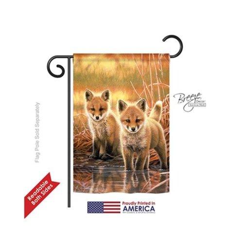 Breeze Decor 60086 Wildlife & Lodge Foxes 2-Sided Impression Garden Flag - 13 x 18.5 in.