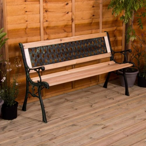 (Cross Style) 3-Seater Garden Bench | Wooden Garden Bench