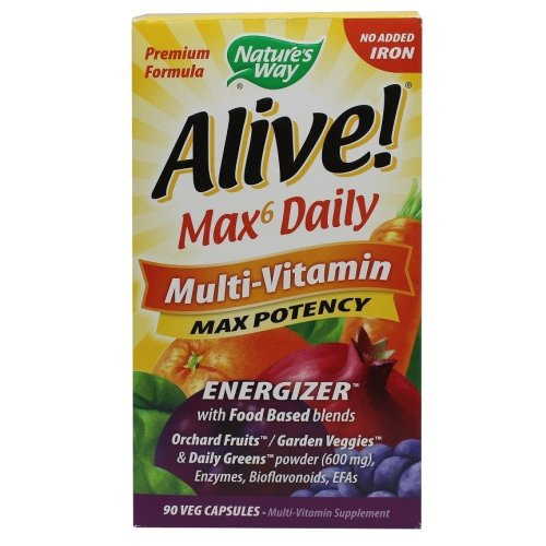 Nature's Way  Alive! Max6 Daily Multi-Vitamin, No Added Iron  -  90 vcaps