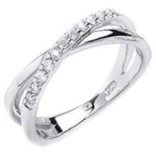 Crossover Ring Eternity Ring Sterling Silver Anniversary Ring Platinum Plated