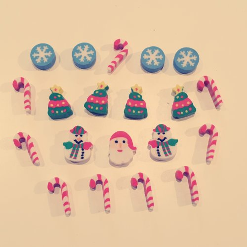 30 Pc Mini Christmas Tree Santa Claus Snowman Xmas Candies Rubber Erasers Gift A Pack Of 30