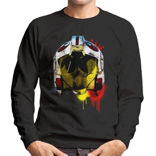 Original Stormtrooper Rebel Pilot Helmet Paint Splatter Men's Sweatshirt