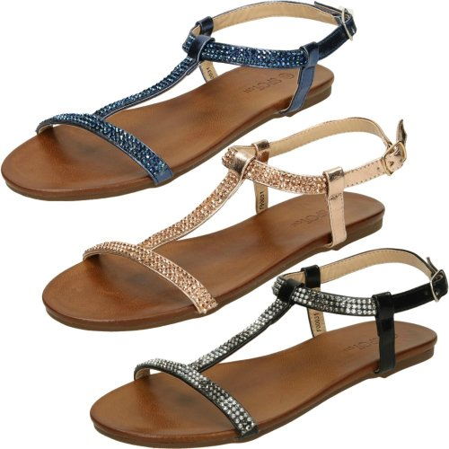 Ladies Spot On Flat Diamante T-Bar Sandals
