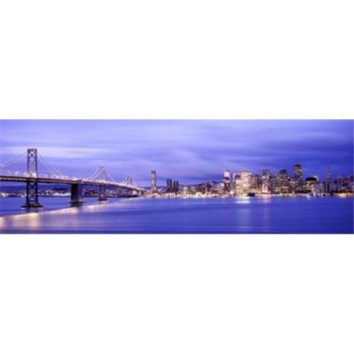 Bridge lit up at dusk  Bay Bridge  San Francisco Bay  San Francisco  California  USA Poster Print by  - 36 x 12