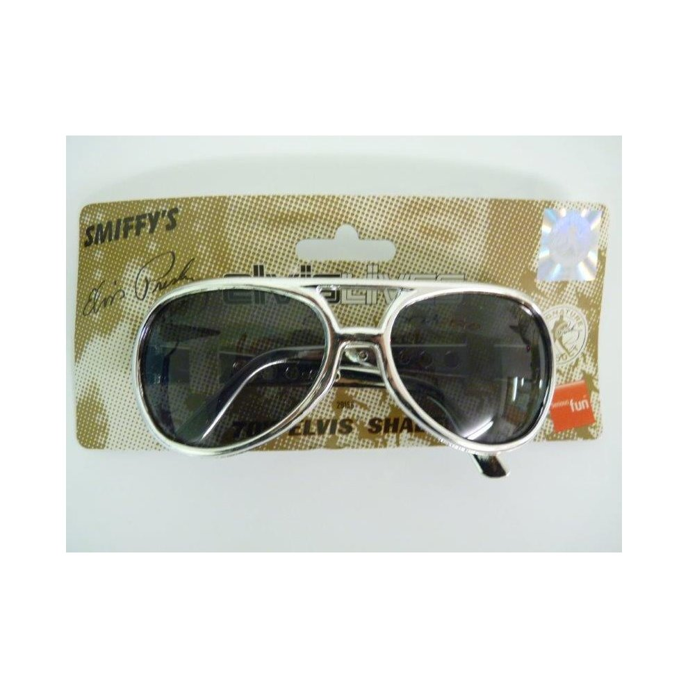 Elvis Glasses Shades Adults Silver Frame Sunglasses Fancy Dress Accessory