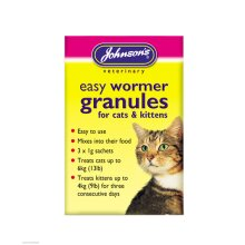 Johnson's Cat Kitten One Dose Wormer Worming Granules Roundworm Tapeworm