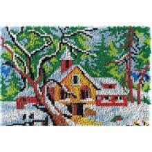 Winter Scenery Rug Latch Hooking Kit (64x48cm blank canvas)