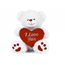 """White Teddy Bear holding Red Heart with """"I Love You"""" written on it (White, 8"""")"""