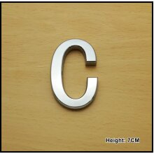 Self Adhesive 3D Chrome Letters Silver House Door Car 7cm CURVED - C
