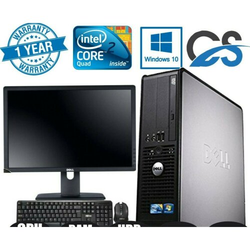 "FAST DELL BUNDLE COMPUTER TOWER PC SET SYSTEM QUADCORE 8GB 1TB 19"" TFT - Refurbished"