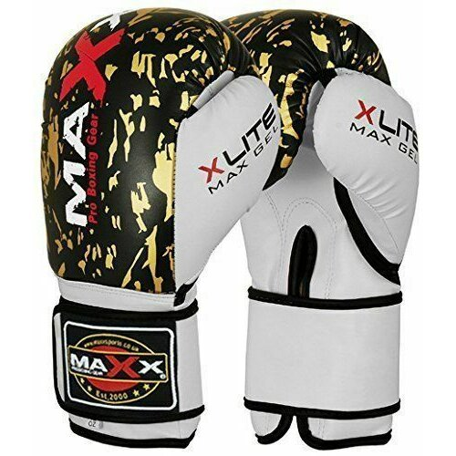 (8OZ) Boxing Gloves Sparring Punch Bag Competition Training gloves blk/ gold Maxx®