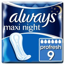 9 x Always Maxi Night Profresh Sanitary Pads - Neutralise Odours Super Absorbent