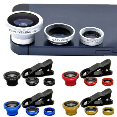 3 In 1 Clip-on Fish Eye Macro Wide Angle Mobile Phone Len Camera Kit Universal