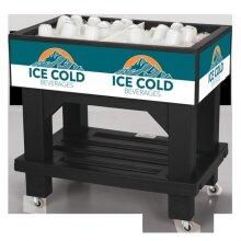 lowa Rotocast Plastics 3151250 Texas Icer Jr Mobile 80 Quart Ice Merchandiser - Black