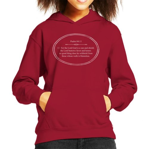 (Medium (7-8 yrs), Cherry Red) Religious Quotes The Lord God Is A Sun And Shield Kid's Hooded Sweatshirt