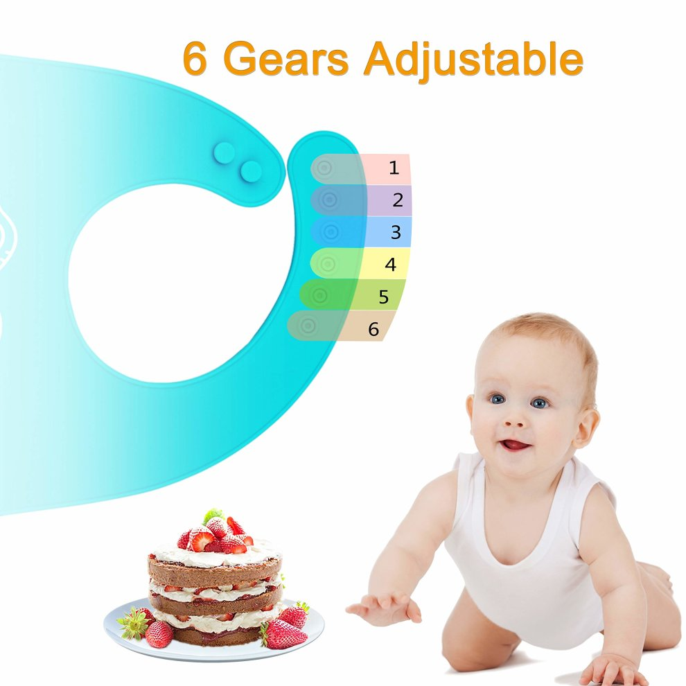 Omew Adjustable Soft Feeding Bibs with Food Crumb Waterproof Silicone Baby Bibs