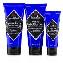 Shave Essentials Kit: Deep Dive Glycolic Facial Cleanser + Supreme Cream Triple Cushion Shave Lather + Double Duty Face