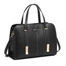 Miss Lulu Handbag Shoulder Bag Ladies Top Handle PU Leather Elegant Crossbody Black